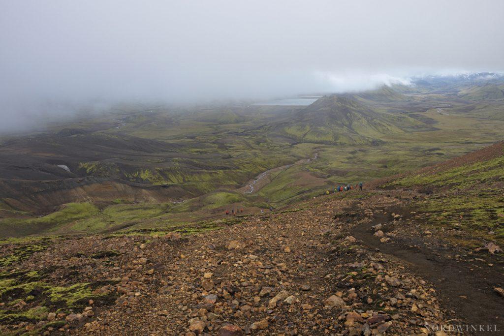 blick aus den Wolken auf das ende der Etappe