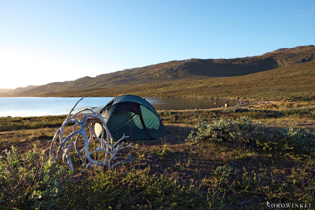 Zelt am Seeufer hinter einem Rentiergeweih unter blauem Himmel am Amitsorsuaq auf dem Arctic Circle Trail