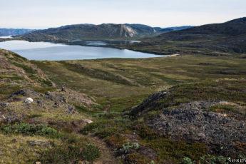 the small lake Kangerluatsiarsuaq view over rocky and green landscape