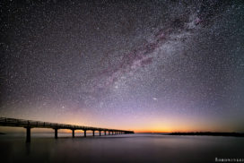 a sky full of stars and the milky way over the baltic sea at the beach in Schönberg