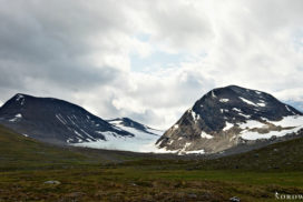 thick clouds above a small glacier inside Sarek nationalpark north sweden