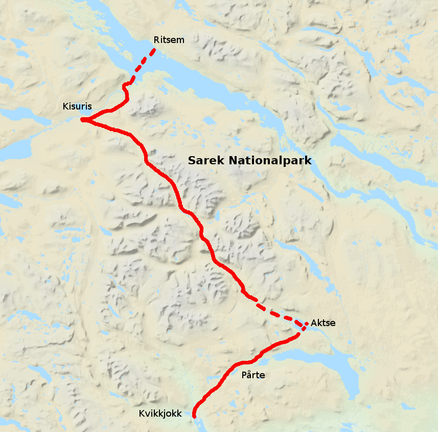Landkarte des Sarek mit unserer Tourt vom Nordwesten in den Südosten des Sarek