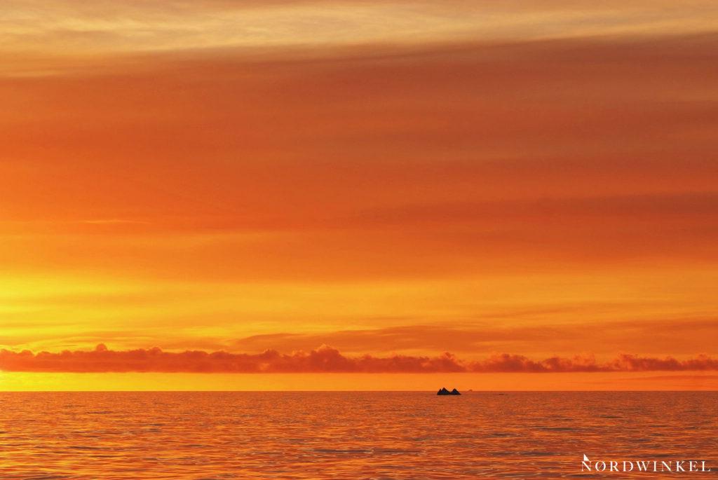 mitternachtssonne sorgt für goldgelb leuchtenden himmel über dem spiegelnden meer auf der grönlandreise
