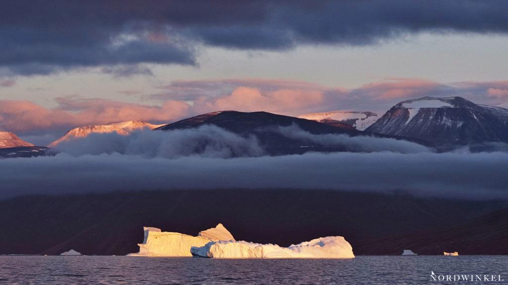 wolken abendrot wolken see mit eisbergen