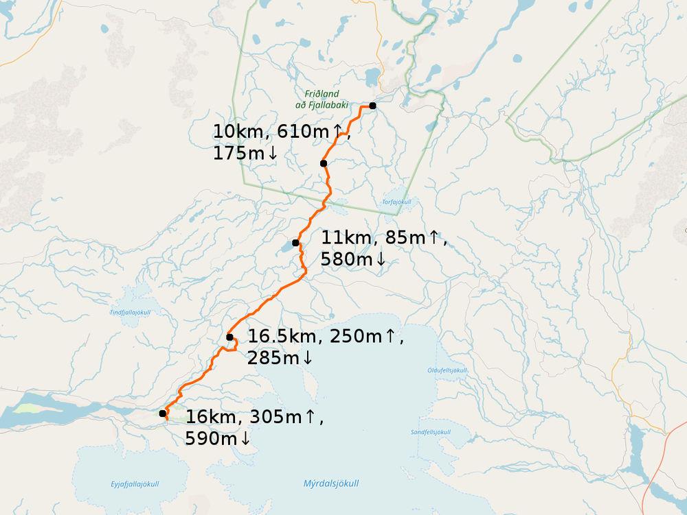 Laugavegur Karte mit Höhenmeterangaben